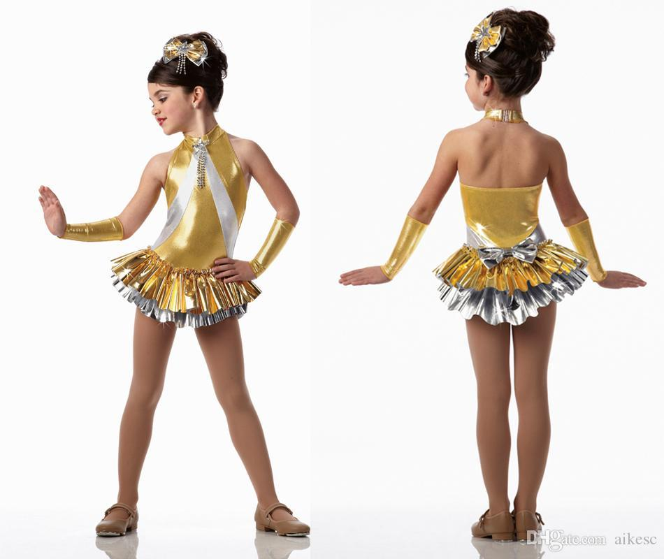 c3a2743c0a66 2019 Gold Girls Dance Costume Latin Dance Dress Blonde Latin Dance Skirt  Children New Clothes And Girls' Skirts And Ballet Costumes Dress L8 From  Aikesc, .