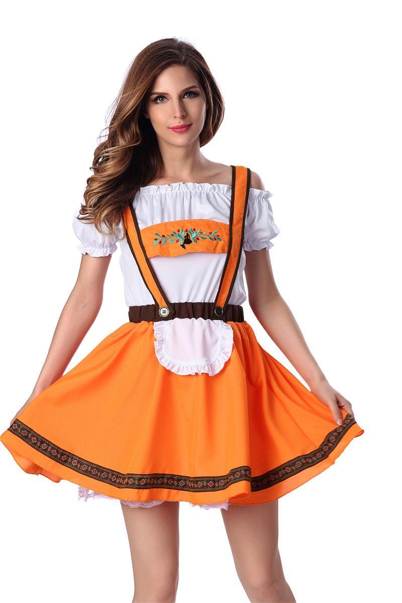 2017 Women'S Sexy Orange Lingerie Oktoberfest Sweetie Maid Adult ...