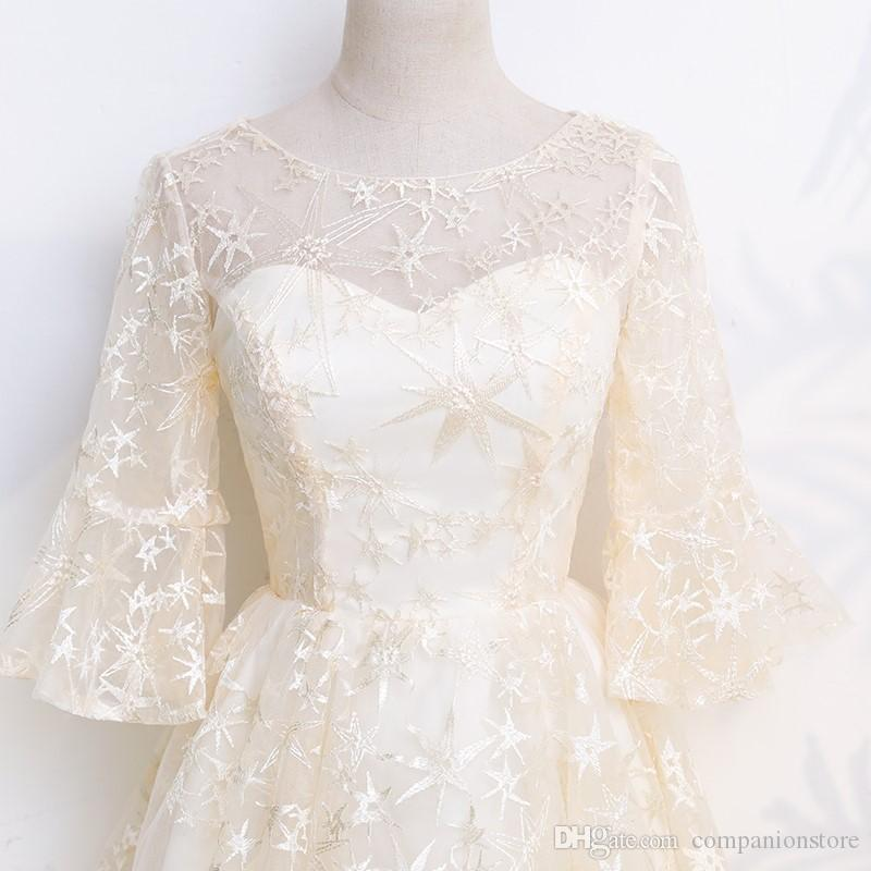 In Stock Really Photo Elegant Champagne Lace And Tulle With Appliques Embroidery Trumpet Sleeve Ball Gown Scoop Neck Short Bridemaid Dress