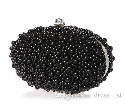 New Arrival 2016 Ivory Red Black Pearls Bridal Handbags For Women Cheap High Quality Hobos Diamonds Wedding Party Clutch Bags EN603