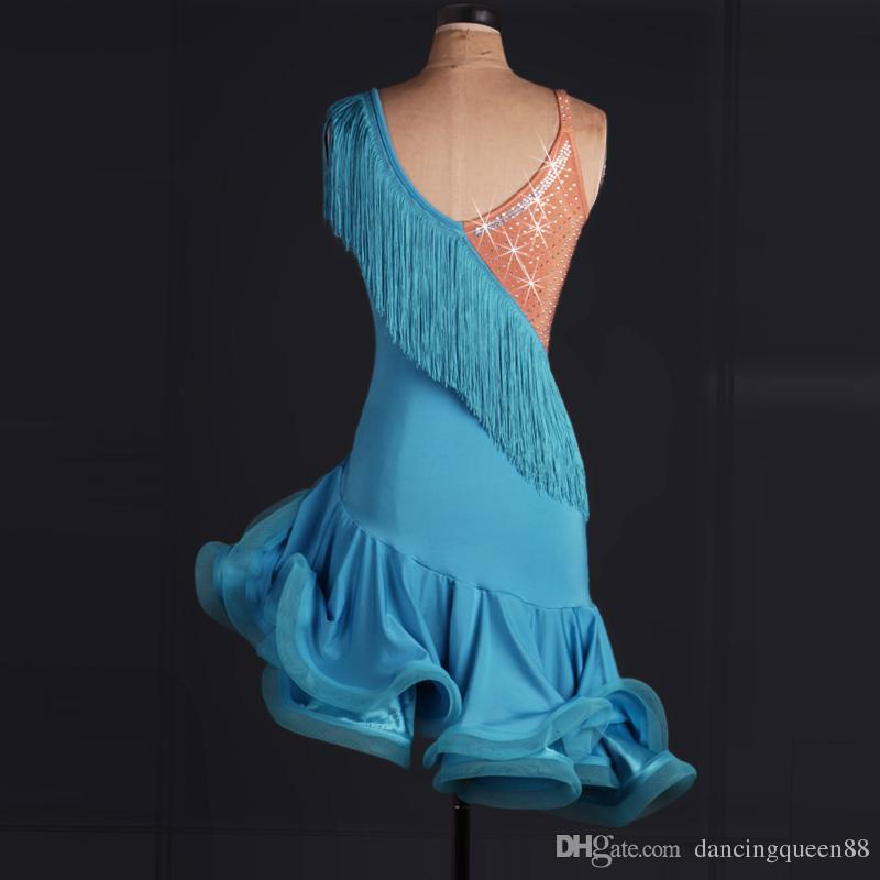 2016 nach maß latin dance dress strass frauen dame clothing für dance bühnenkostüme quaste tanzen dress für frauen dancewear dress