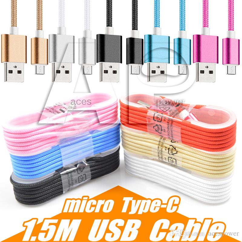 1.5M Type C 3ft 6ft 10ft Braided USB Charger Cable Micro V8 Cables Data Line Metal Plug Charging for Samsung S8 Plus