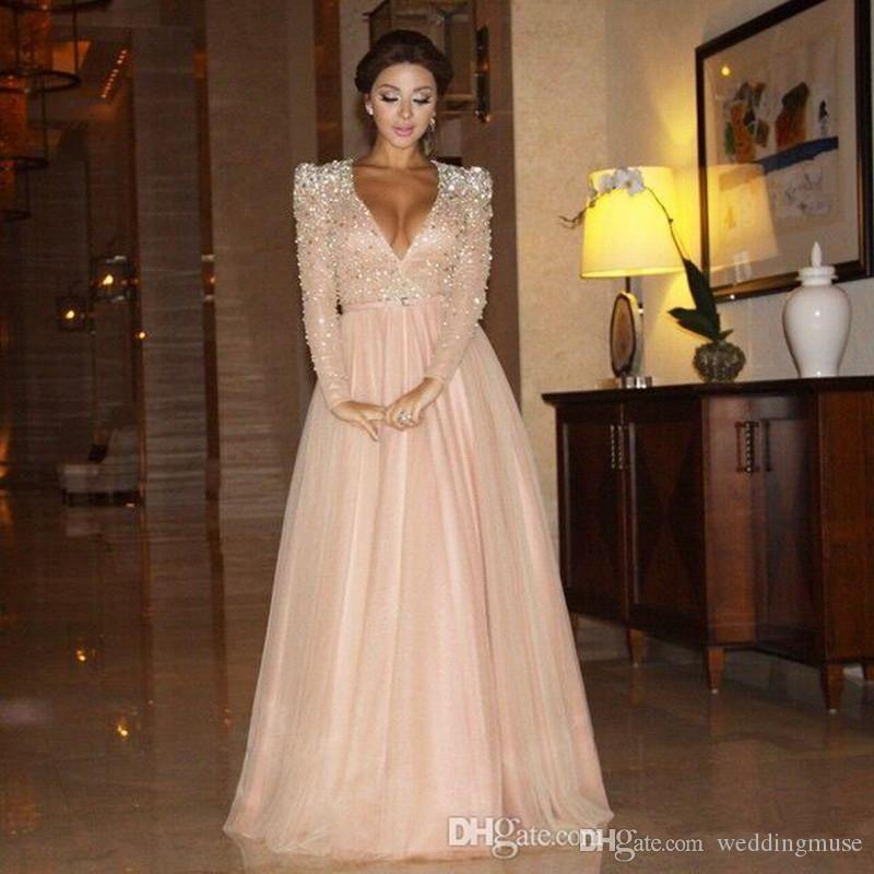 Gorgeous 2021 Dresses V Neck Long Sleeve Baby Pink A Line Evening Wear Heavy Crystal Beaded Formal Celebrity Red Carpet Prom Evening Dress