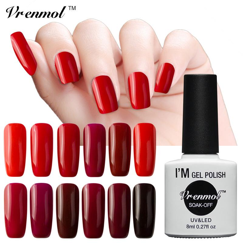 Venta al por mayor- Vrenmol UV Led esmalte de uñas Color rojo oscuro Serie Nail Gel Laca Soak Off Healthy Nail Gel Art Salon