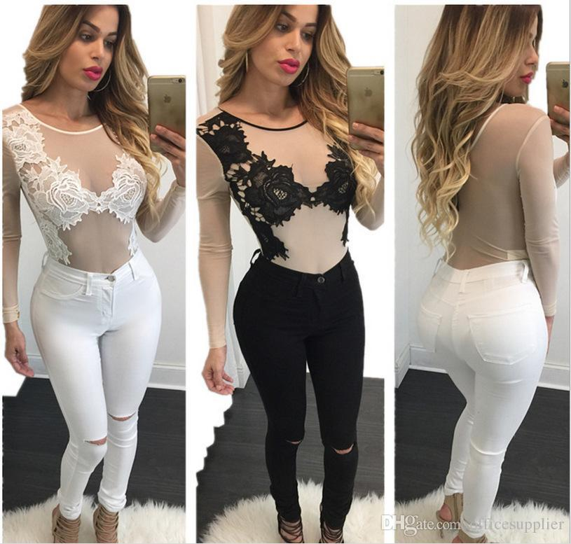 76a489cdabb6 2019 Backless Women Sexy Lace Jumpsuit Polyester Embroidery Fashion  Transparent Long Sleeve Round Neck Lace Women Underwear Rompers From  Officesupplier