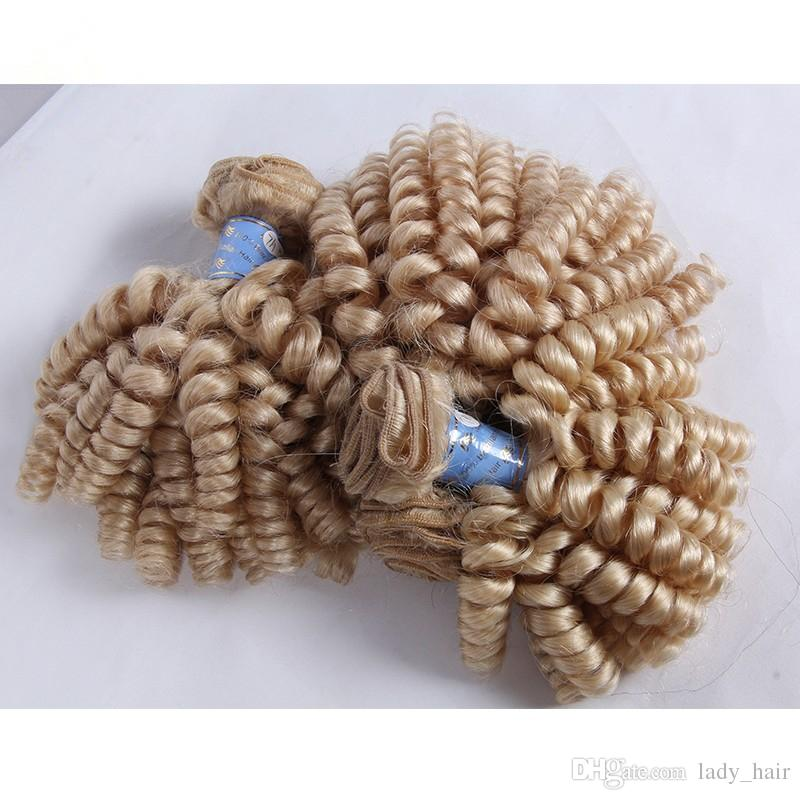 Barato Brasileiro Tia Funmi Loira Cabelo Humano Muito 9A Virgin Brasileira # 613 Platinum Loira Funmi Cabelo Weave Bundles Romance Curls