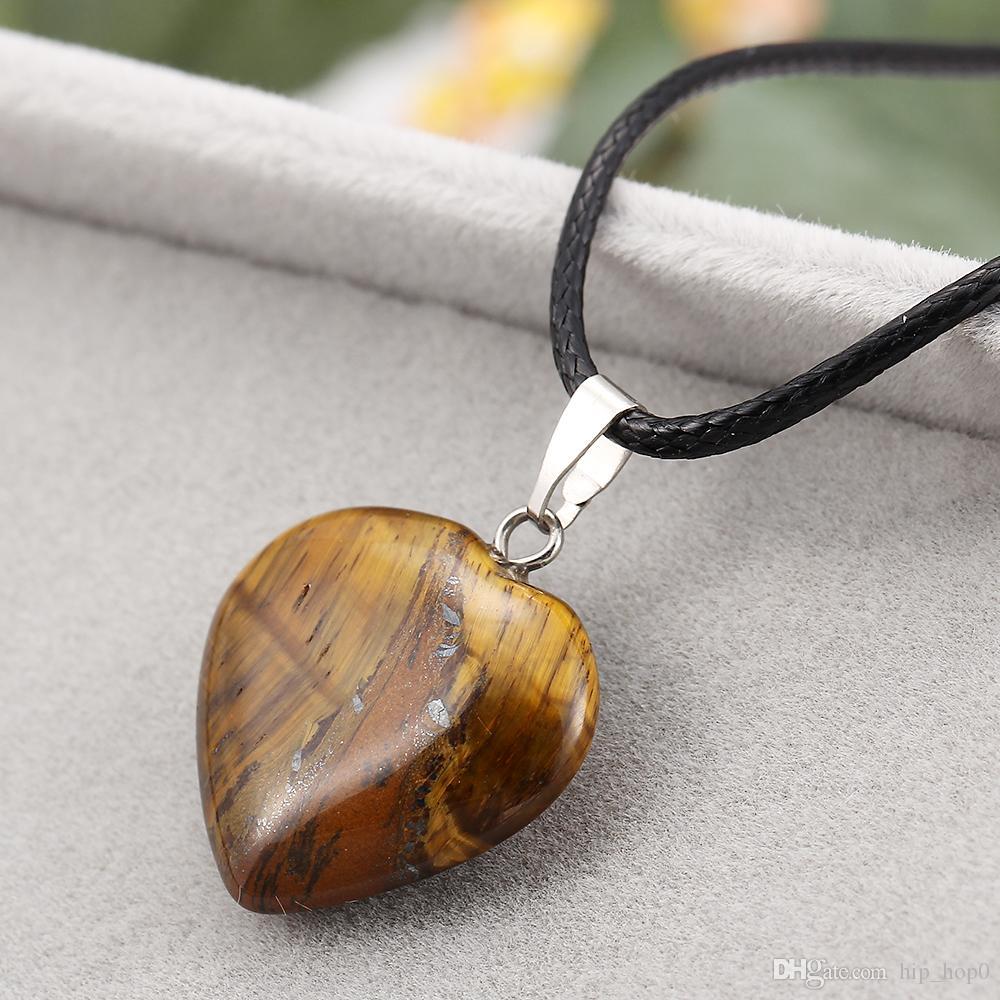 Perles de chakra de guérison en forme de coeur collier violet rose quartz turquoise pendentif ambre collier ras de cou Couples collier bijoux de chaîne de corde PU