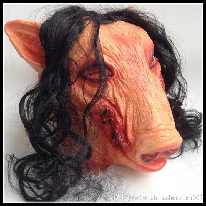 On Sale Horror Mask Saw 3 Pig Scary Mask Adults Full Face Animal Latex Masks Halloween Horror Masquerade Mask With Hair