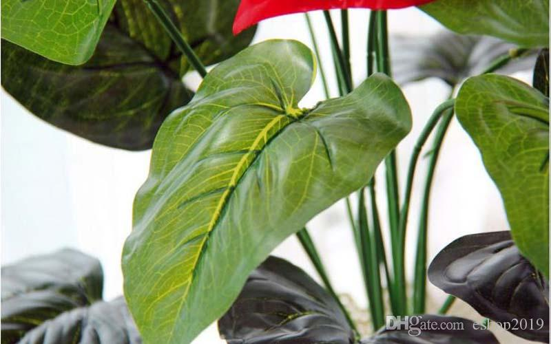 Great 18 Heads Artificial Flower Small Potted Plant Silk Suit Large Potted Anthurium Office Home Garden Decoration Bonsai Wholesale