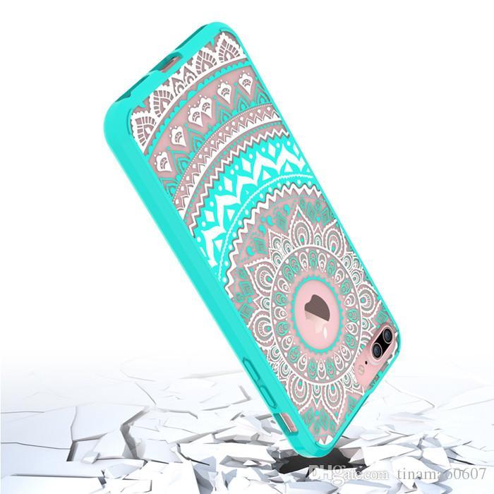 Mandala serie totem casi iphone6 6 6s hennè floreale fiore pizzo disegno chiaro stampato pc casi posteriore duro copre iphone 6