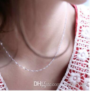 Ventas al por mayor 30 unids venta caliente moda collar de plata 925 para mujeres cadena de onda de Agua joyería femenina tamaño 16 18 pulgadas de ancho 1.5mm envío gratis