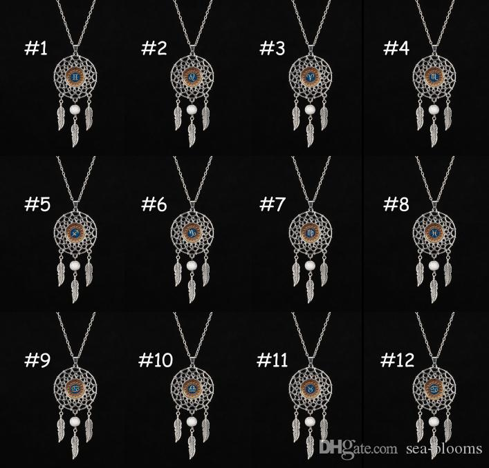 Kimter Retro Mädchen Schmuck zwölf Sternbild Halskette Mode Feder Edelstein Dreamcatcher Halsketten Wunderschöne Traumfängerketten B989LA