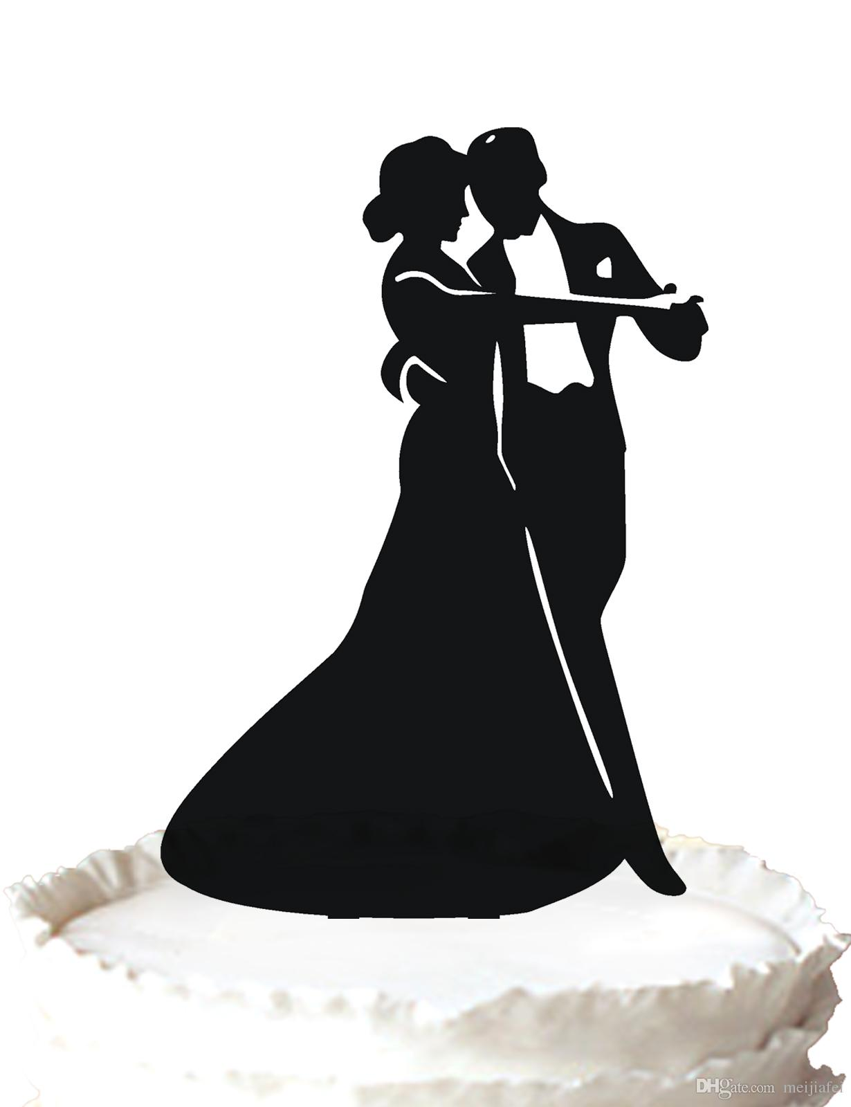 2028b3b001 Romantic wedding dancing wedding cake topper silhouette bride and groom  dance ,37 color for option Free Shipping