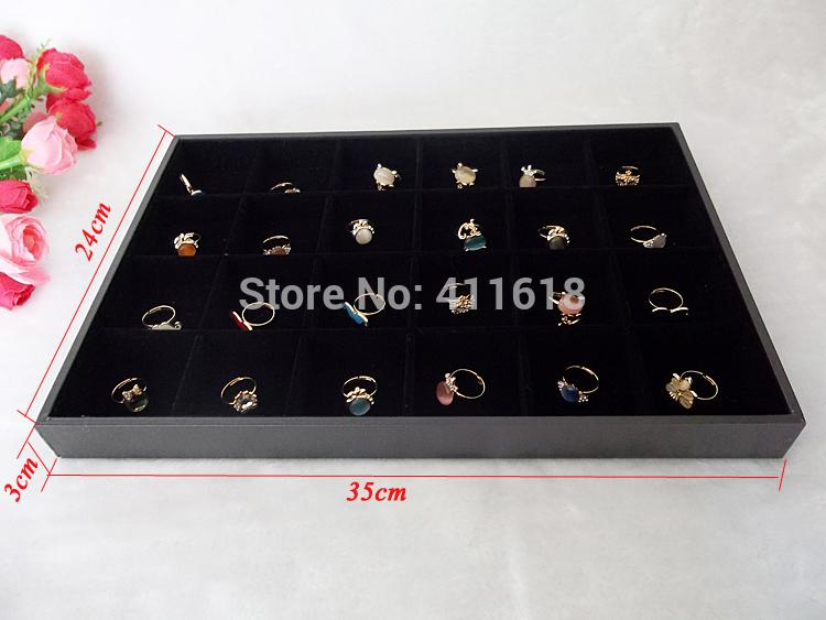 Hot Sale Black Velvet Jewelry Display Tray Showcase 35*24*3cm For Ring Holder Earrings Beads Storage Organizer With 24 Girds