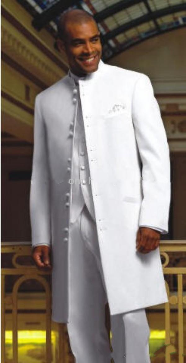 New Style Long White Groom Tuxedos Stand Collar Best Man Groomsmen Mens Wedding Suits (Jacket+Pants+Vest+Tie)