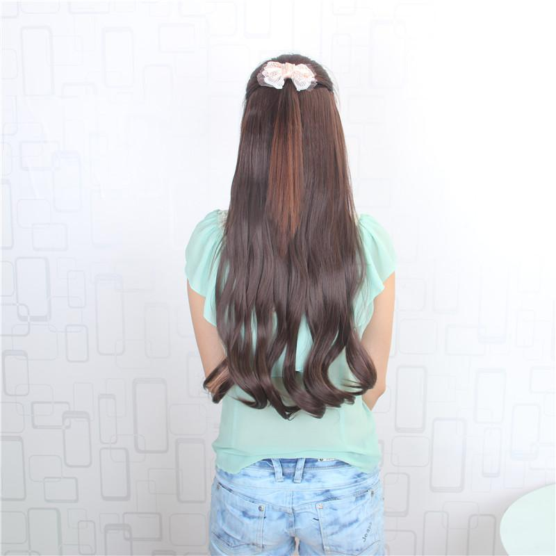 24inch 60cm 120g Man Made Soft Waves 5 Clips On Hair Extension Clip