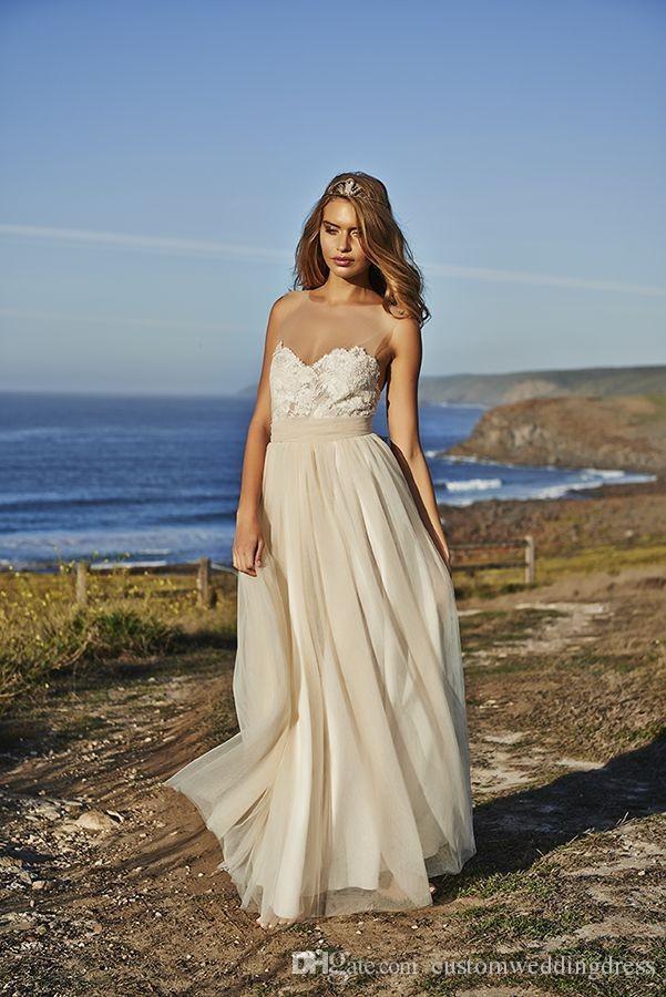compre grace love lace beach vestidos de novia blanco gasa hasta el