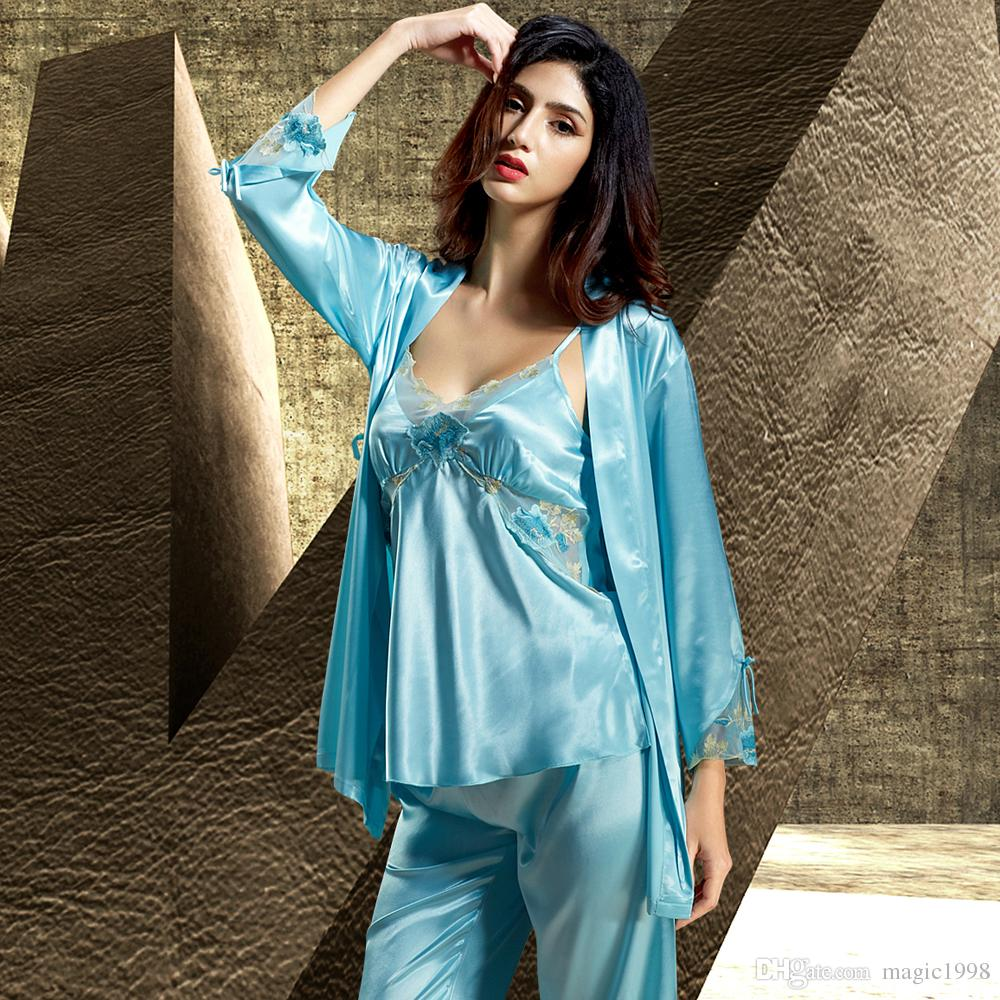 5a525f8a85 Sale Women Pajamas Embroidery Lace Sleepwear Sexy V-Neck Pijama Long ...