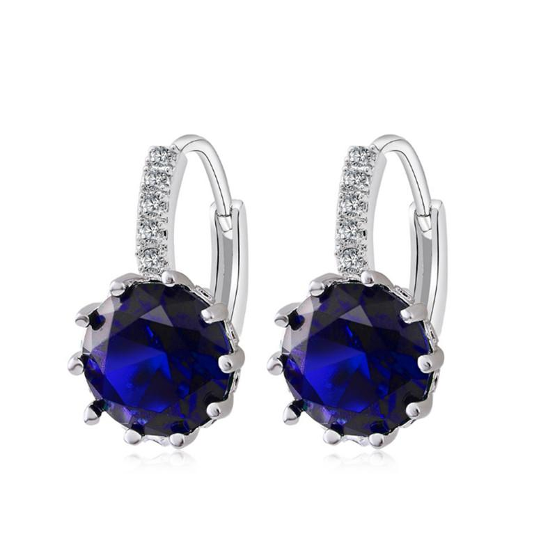 Simple design earrings natural crystal wholesale fashion small sterling white gold plated jewelry for women Clip men or women earings