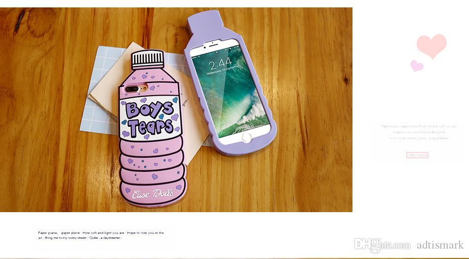 لينة هلام السيليكون القضية للحصول على 6 6S 7 7 زائد 5 5S SE 3D الكرتون المياه زجاجة الهاتف لتغطية اي فون 5 6 7 6S حالة لطيف