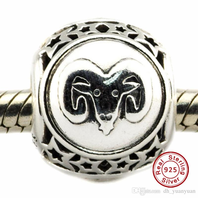 885ec2c32 ... 2018 2016 Aries Star Sign Charm 100% 925 Sterling Silver Beads Fit Pandora  Charms Bracelet ...