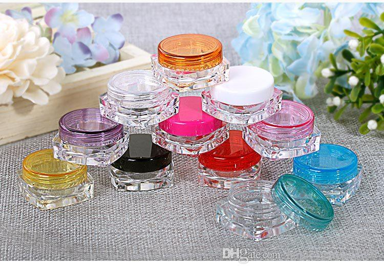 DHL FREE 3g 5g transparente kleine quadratische Flasche Cosmetic Leeres Glas Pot Eyeshadow Lip Balm Gesichtscreme Probenbehälter 11 Farben optional