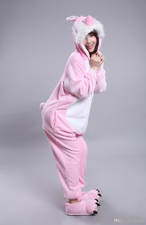 Unisex Adult Pajamas Onesie Kigurumi Cosplay Costumes Animal Jumpsuit Rabbit