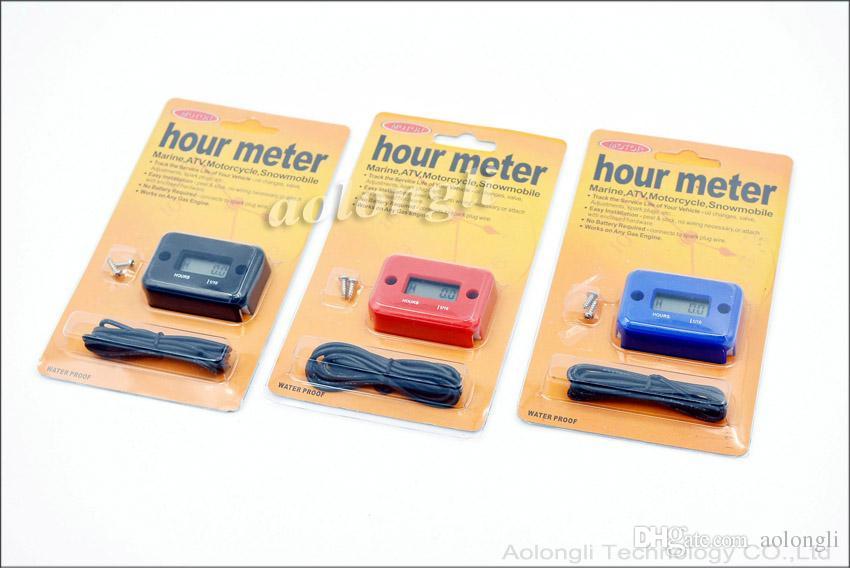 Medidor de horas digital Medidor LCD para motor de gasolina Carreras de motos ATV Mower Moto de nieve moto Tacómetro Horas a prueba de agua Metro