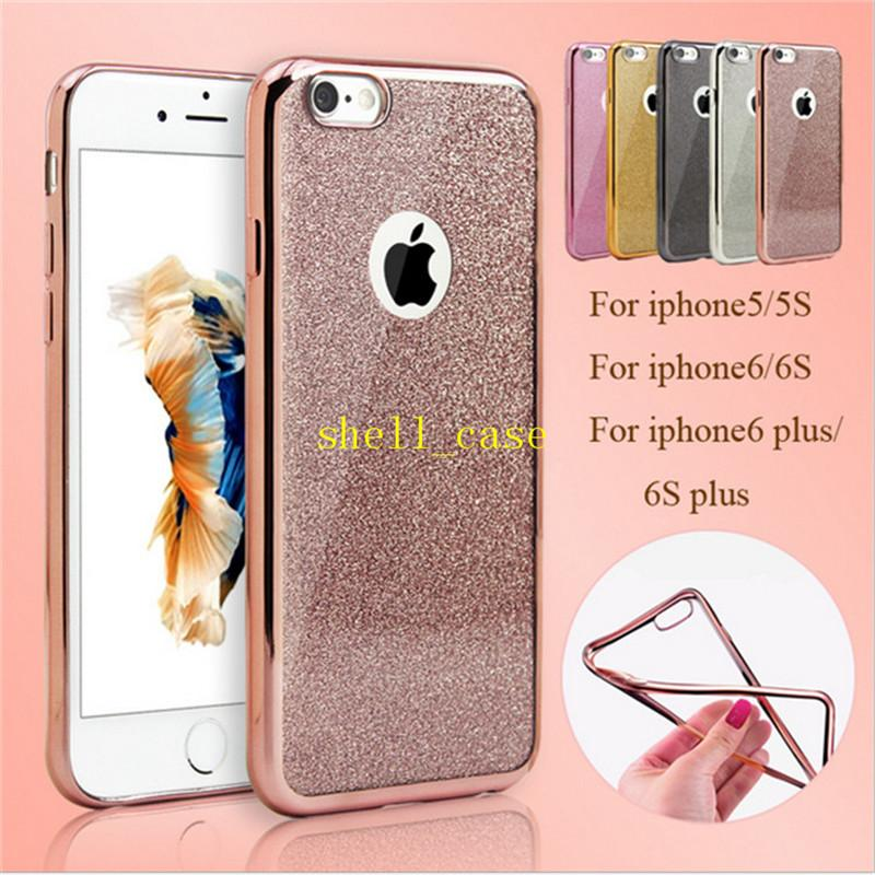 7a0baa53f4d Glitter TPU Plating Case 2 In 1 Clear Soft Ultrathin Cases With Glitter  Shiny Back Film Skin Cover For Iphone Se 5 5s 6 6s Plus 5 Multicolor Cell  Phone ...