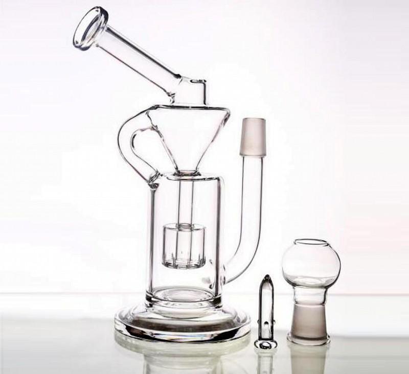 22 cm tubi ad acqua in vetro alto con cupola e chiodo portatile congiunta taglia 18.8mm Recycler Rigs in vetro Bongs Hoorkahs a buon mercato inferiore a $ 20