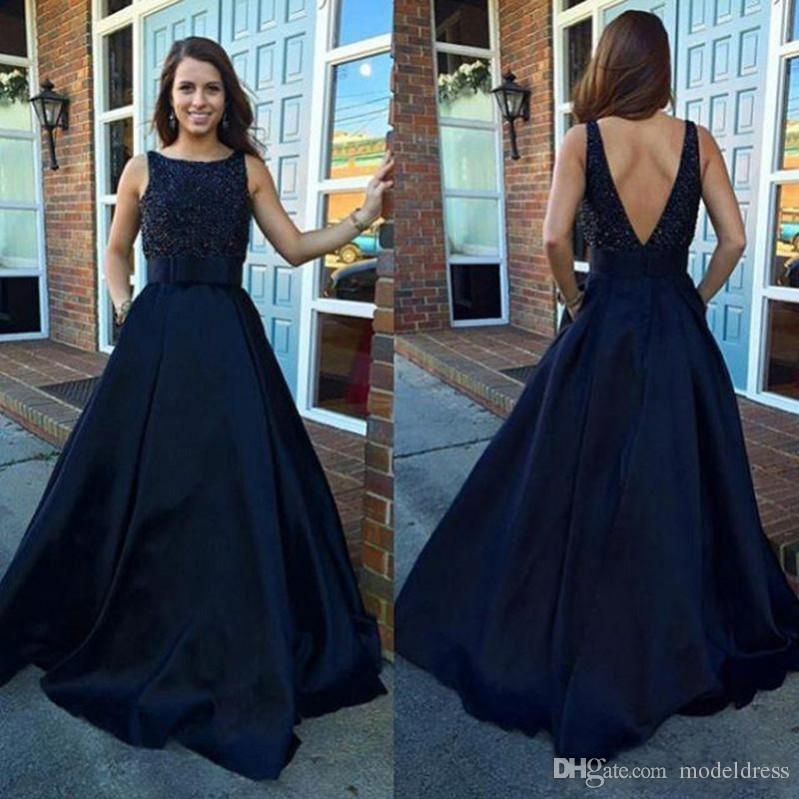 New Backless Navy Blue Evening Dresses 2017 Bateau Beading Floor length Modest Satin Prom Party Gowns Vestidos Plus Size Custom Made Cheap