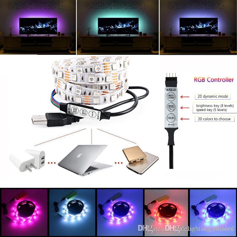 Led 5v multi colored rgb strip light bias lighting led flat screen led 5v multi colored rgb strip light bias lighting led flat screen tv background lights kit cuttable with usb cable 60leds meter auto led light strips super mozeypictures Image collections