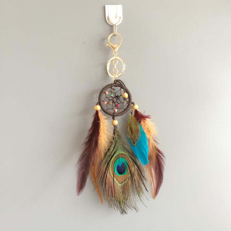 "Top Quality 1.8"" Dream Catcher Small Car Hanging With Peacock Feather Whosale"