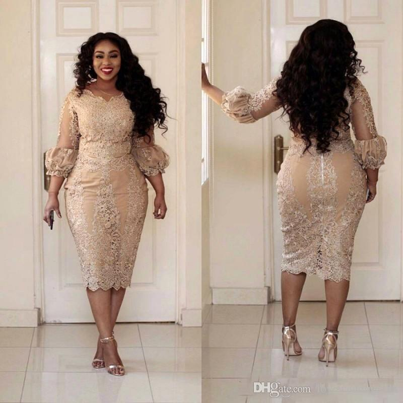 2017 Lace Applique Sheath Plus Size Mother of the Bride Dresses 3/4 Long Sleeves Tea Length Evening Party Gowns Champagne