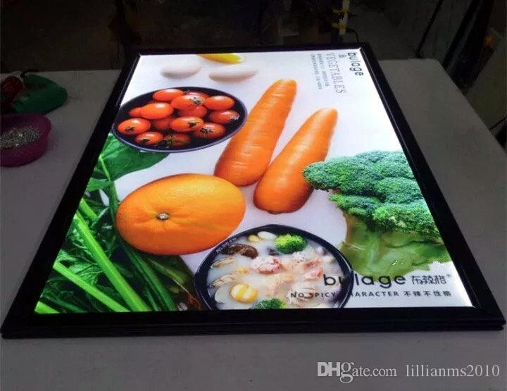 Black Snap Aluminum Frame Indoor Wall Mounted LED Illuminated Restaurant Menu Boards,Advertising Poster Display Frames LED