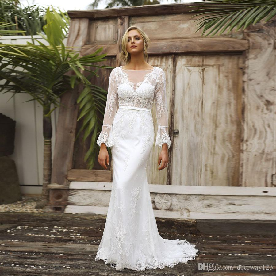 Boho Beautiful Lace Wedding Dresses Long Sleeve Sexy Backless See Through Bodice Mermaid Bridal Gowns Custom Made