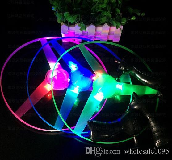 Flash PULL Luminous Flying Saucer 25cm Led Light UFO Children Flying Toys 80g WJ763