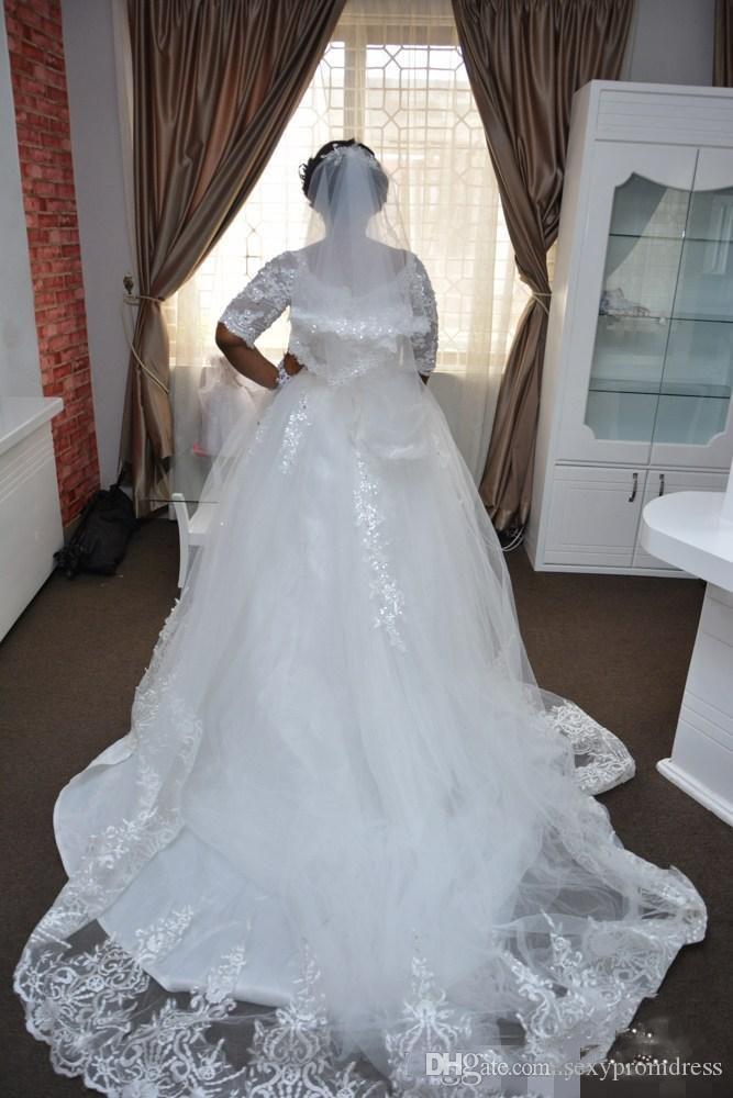 레이스 플러스 크기 나이지리아 웨딩 드레스 깎아 지른 하프 긴 소매 라인 웨딩 드레스 남아 프리카 공화국 웨딩 드레스 맞춤 제작