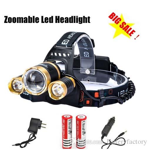 Boruit Gold Head 5000LM CREE XML T6 Zoomable Headlamp Head Torch Flashlight Rechargeable Led Headlight Outdoor 2*18650 Battery+2xCharger