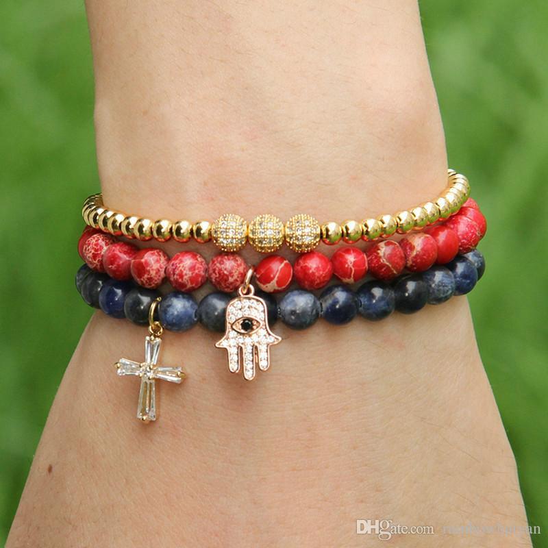 Оптовая продажа новый летний Bracelests 6 мм натуральный синий Вены камень с прозрачными Цирконами лояльных крест Cz бусины браслеты лучший подарок