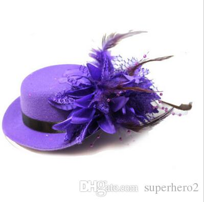 Vintage women bride fascinator mini top hat cap wedding ribbon gauze lace feather flower hats party hair clips caps millinery hair jewelry