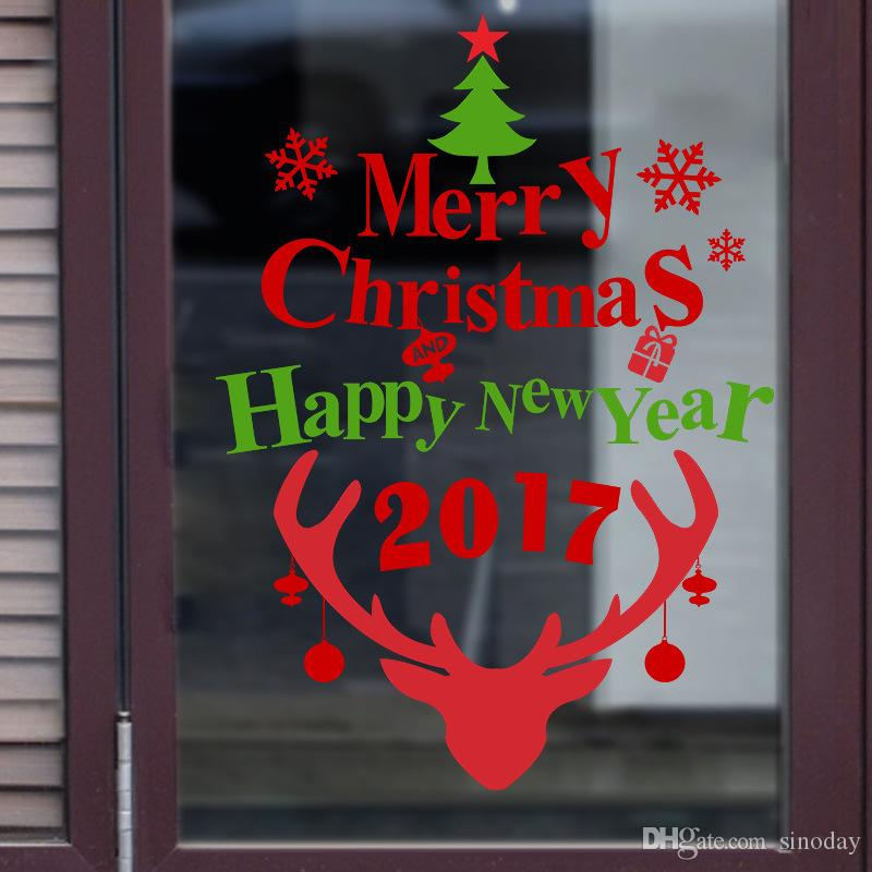 2017 Merry Christmas And Happy New Year Window New ...