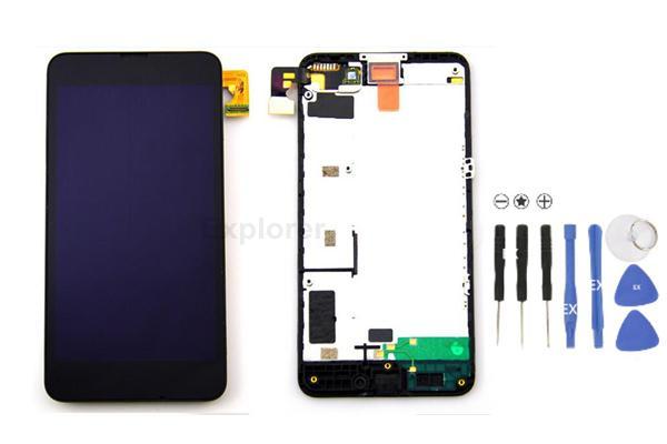 Pantalla LCD + Pantalla táctil táctil Ensamblaje del digitalizador con marco para Nokia Lumia 635 vs 630 Asamblea LCD + Vidrio templado + Herramientas /