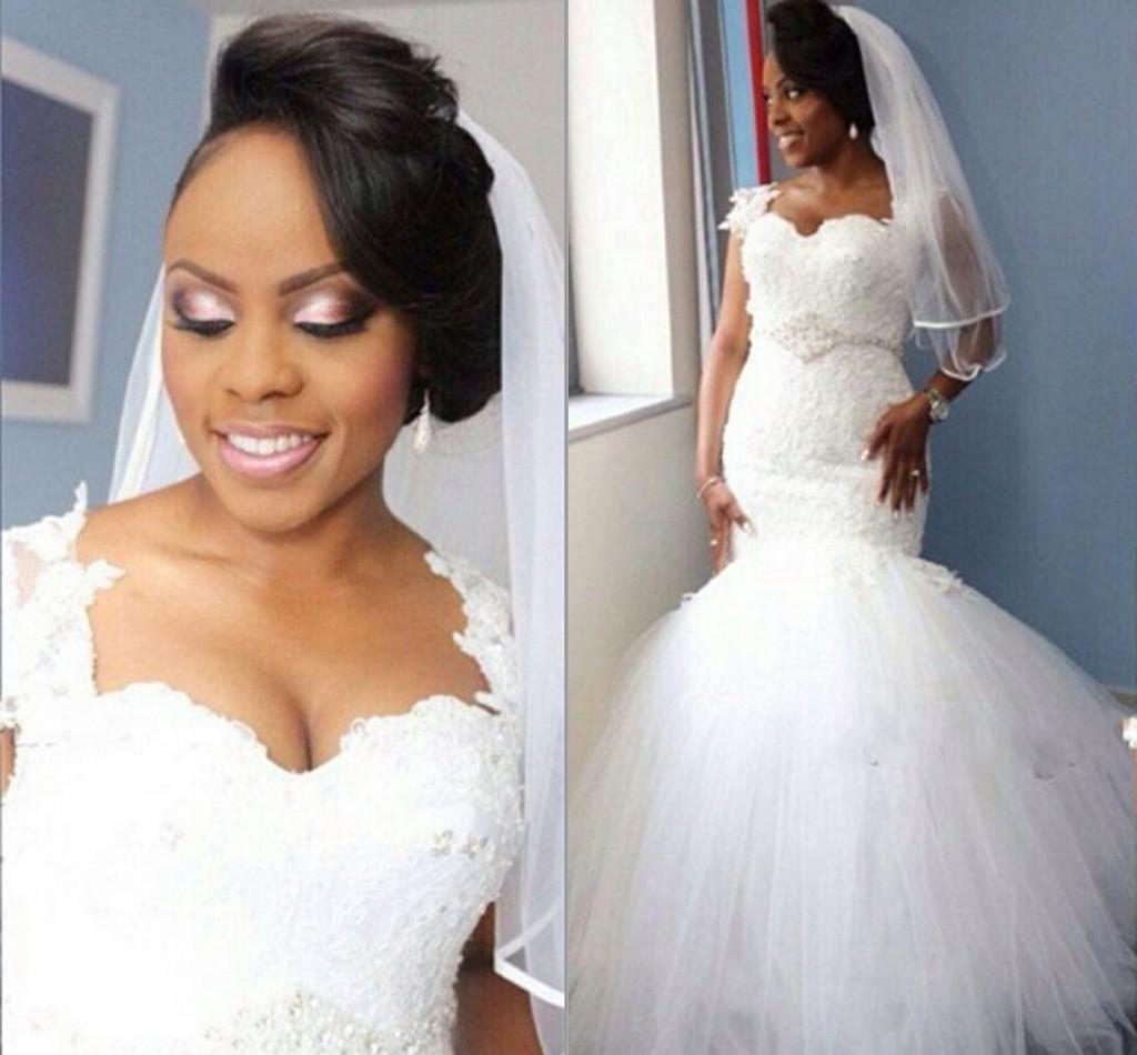 2016 Plus Size Mermaid Wedding Dresses Nigerian Lace Sheer Tulle ...