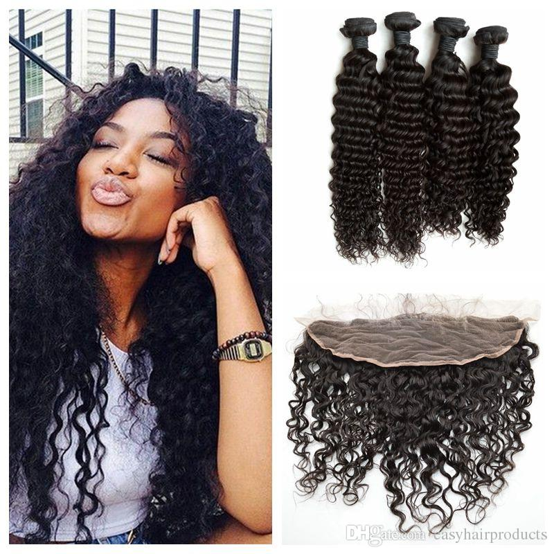 Beyonce Curly Lace Frontal Closure With Indian Virgin Hair Weave