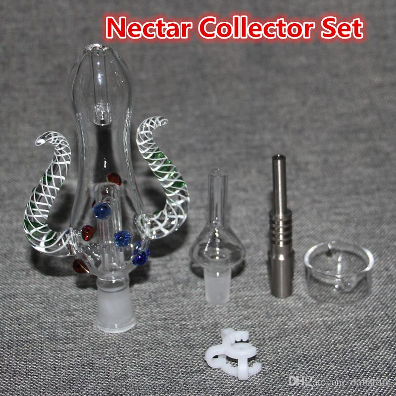 Nectar Collectors kits Honey Straw Body Bong With GR2 Titanium Nail 10mm 14mm 18mm Joint Nector Collector Oil Rigs Glass Bongs