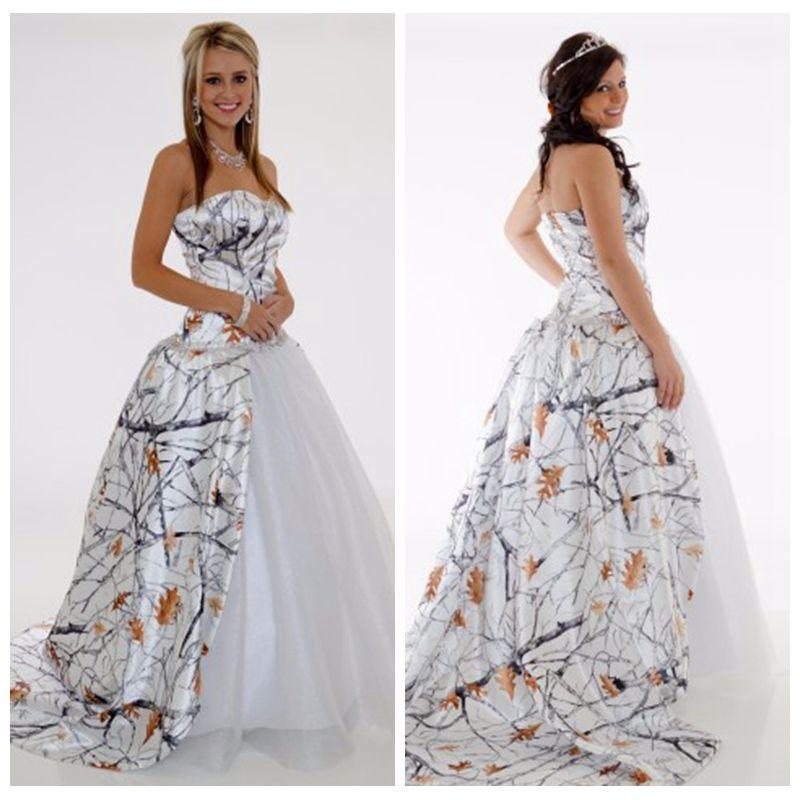 White Camo Snowfall Camouflage Wedding Dresses Custom Lace Up Back ...