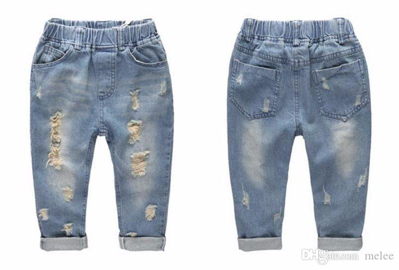 INS kids Ripped denim jeans pants shorts Fashion denim children clothing baby boys girls jeans for children brand slim casual pants