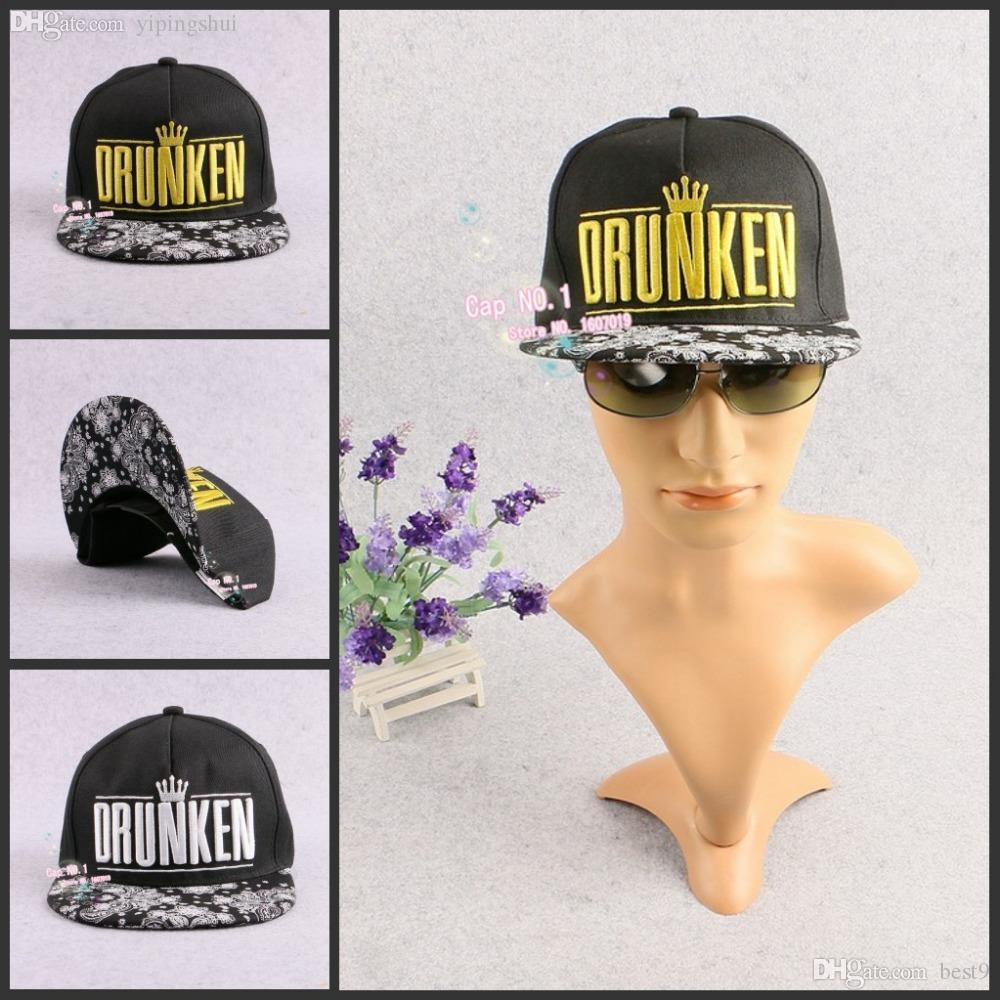 Wholesale Korean Women And Man Brand DRUNKEN Letter Cashew Flowers  Embroidered Crown Flat Brimmed Snapback Hats Hip Hop Baseball Caps Black Baseball  Cap ... 19132a51e2da