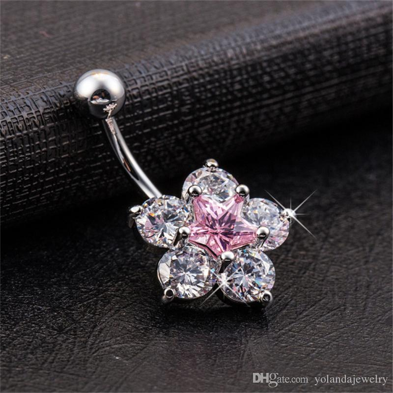 18K White Gold Plated CZ Blue/White/Pink Sparky Star Flower Belly Dance Ring for Girls Women Hot Gift